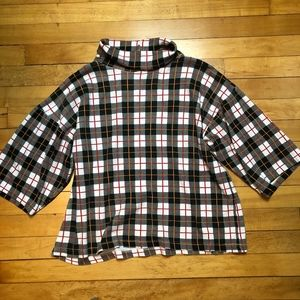 The Limited 90s Plaid Cropped Turtleneck Top